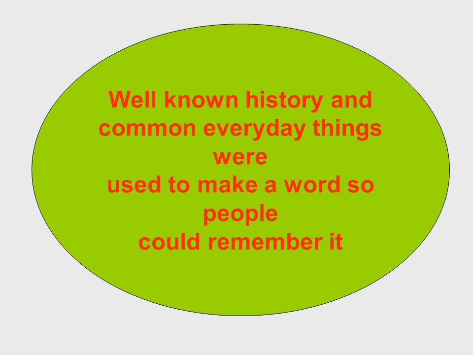 Well known history and common everyday things were used to make a word so people could remember it