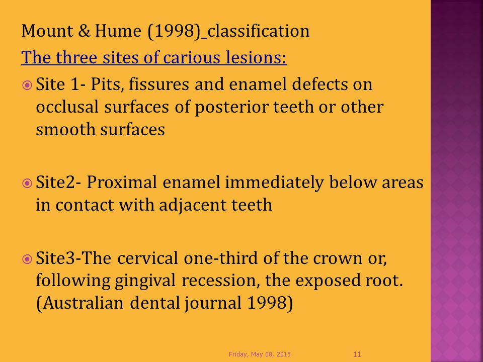 Mount & Hume (1998) classification The three sites of carious lesions: