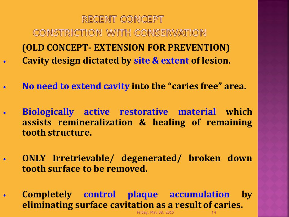 Recent Concept CONSTRICTION WITH CONSERVATION