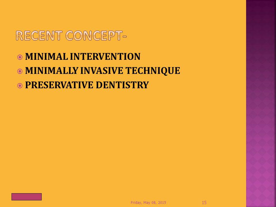Recent Concept- MINIMAL INTERVENTION MINIMALLY INVASIVE TECHNIQUE