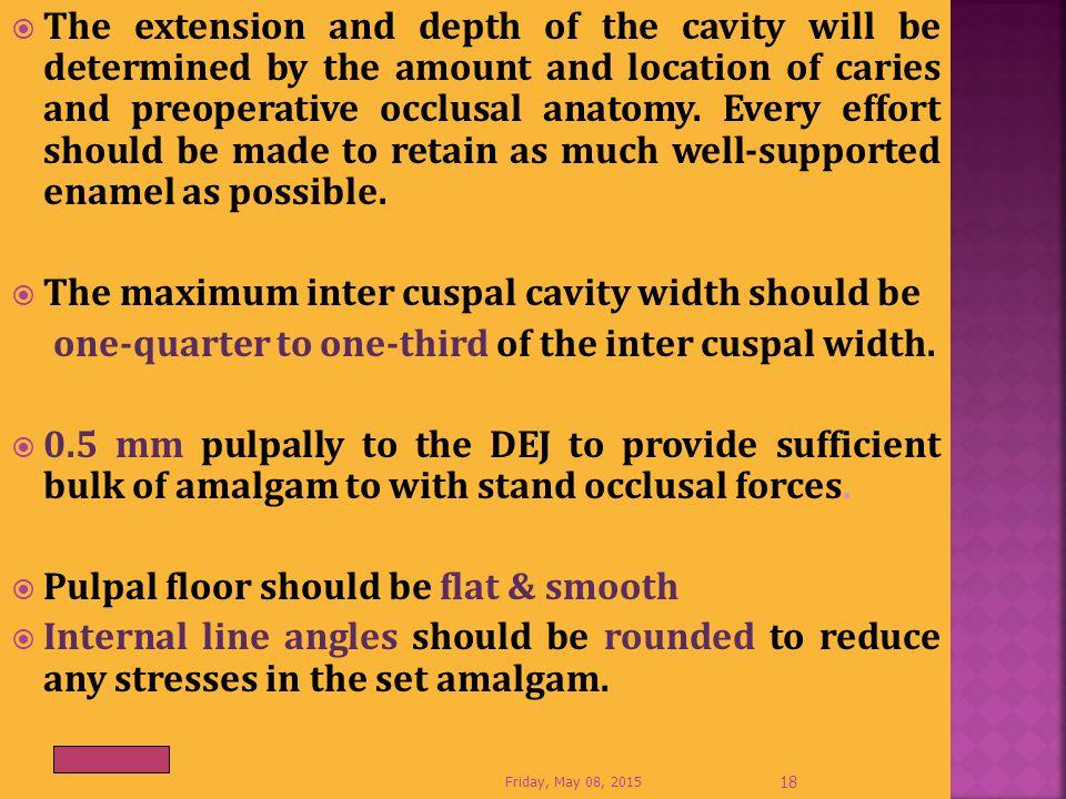 The maximum inter cuspal cavity width should be