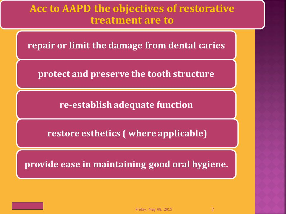 Acc to AAPD the objectives of restorative treatment are to