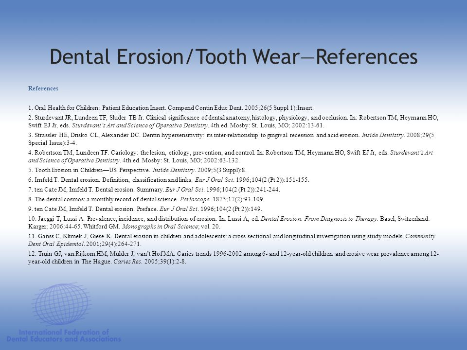 Dental Erosion/Tooth Wear—References