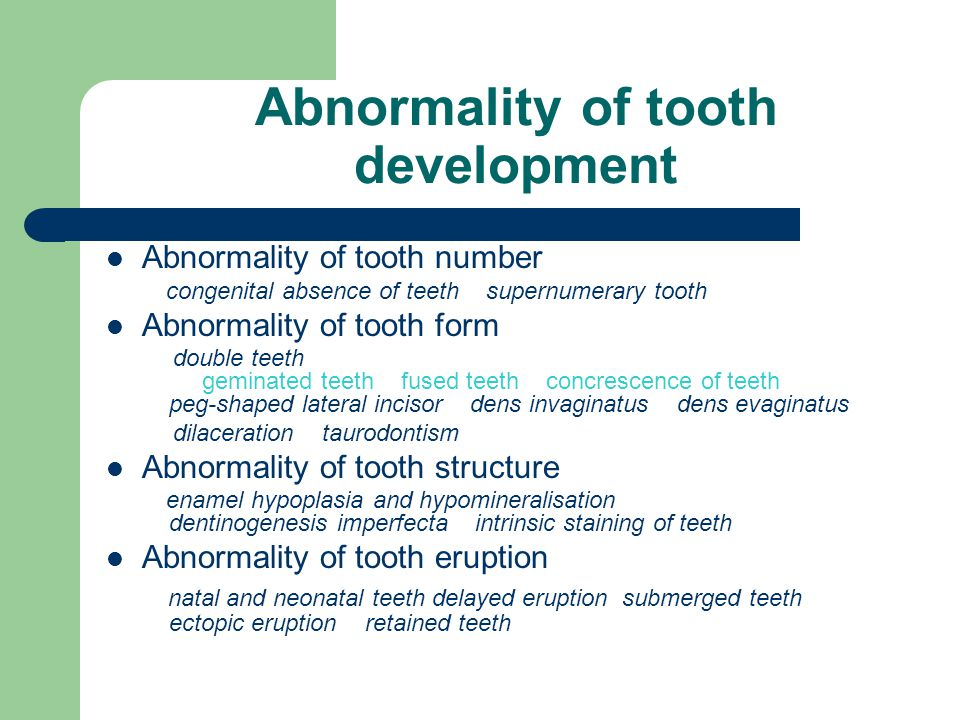 Abnormality of tooth development