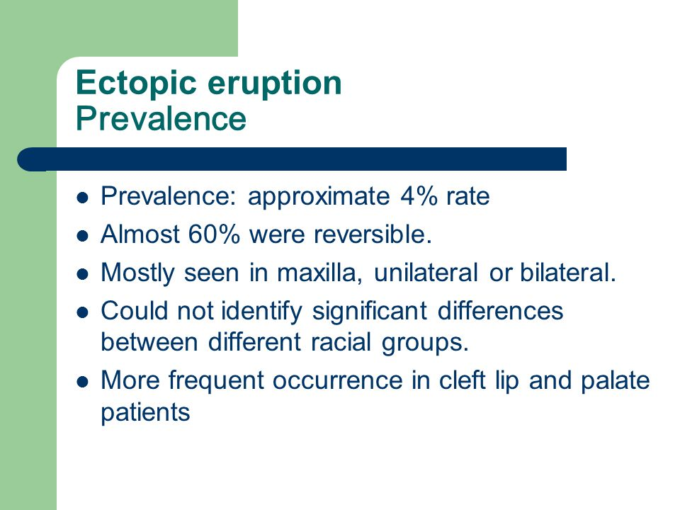 Ectopic eruption Prevalence