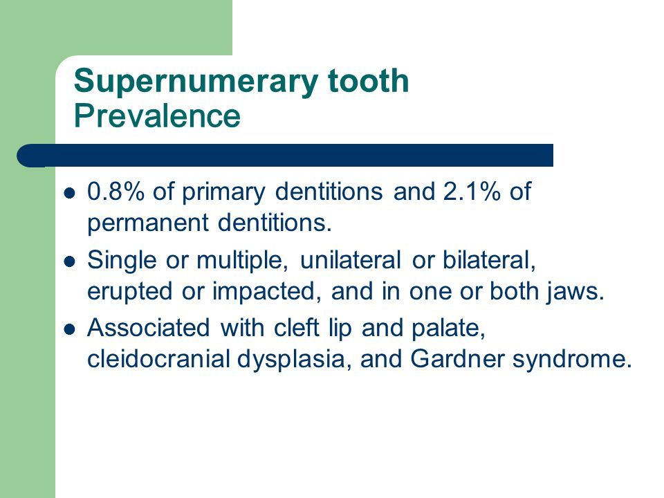Supernumerary tooth Prevalence