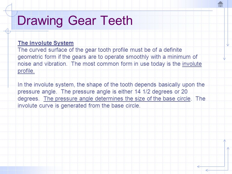 Drawing Gear Teeth The involute System