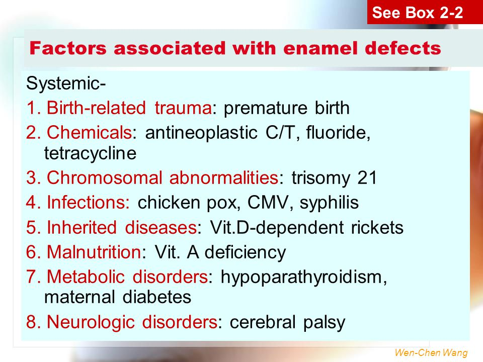 Factors associated with enamel defects