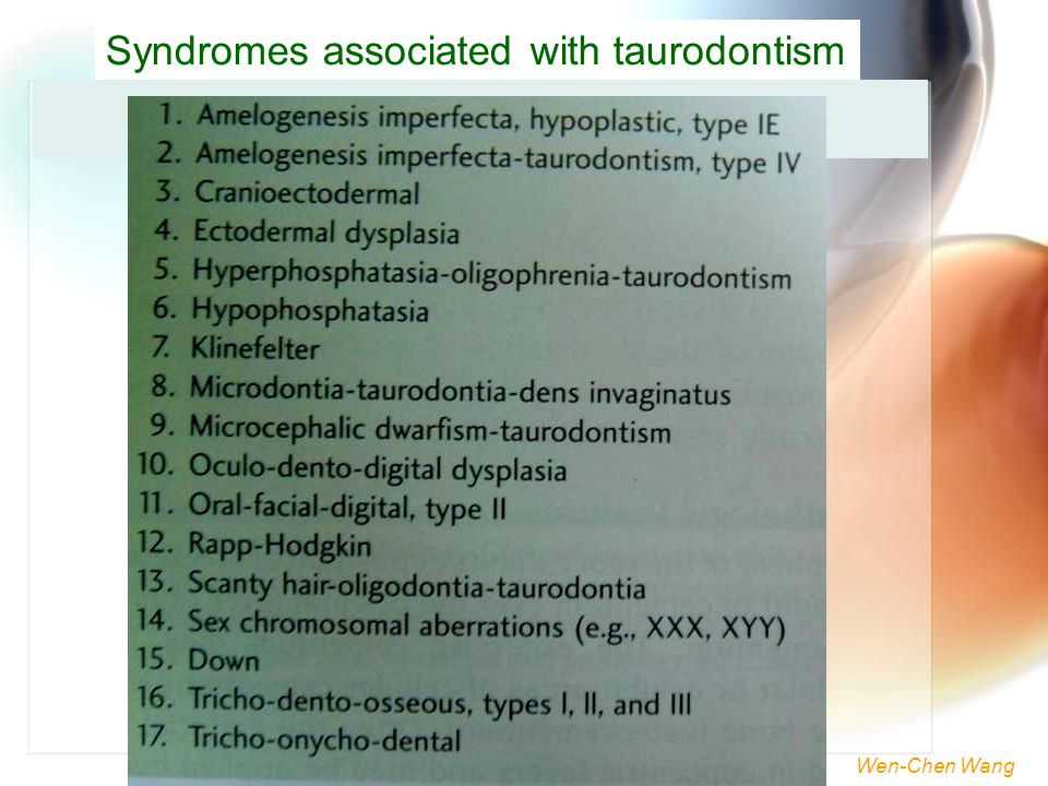 Syndromes associated with taurodontism