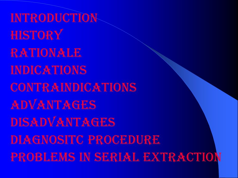 INTRODUCTION HISTORY. RATIONALE. INDICATIONS. CONTRAINDICATIONS. ADVANTAGES. DISADVANTAGES. DIAGNOSITC PROCEDURE.