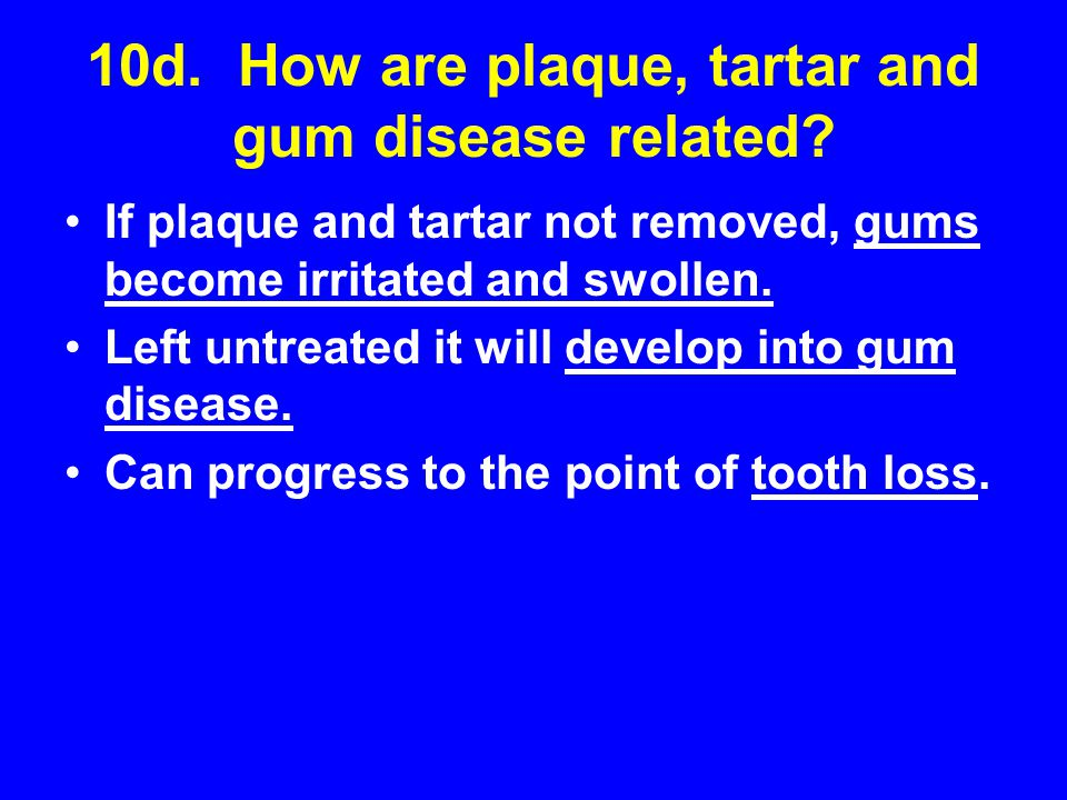 10d. How are plaque, tartar and gum disease related
