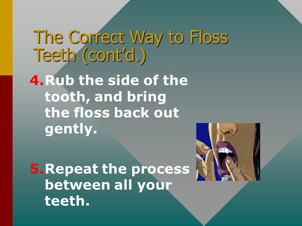 The Correct Way to Floss Teeth (cont'd.)