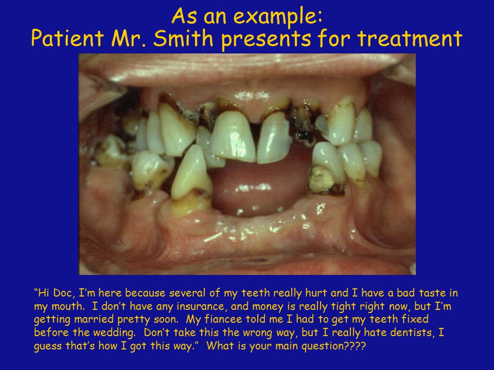 Patient Mr. Smith presents for treatment