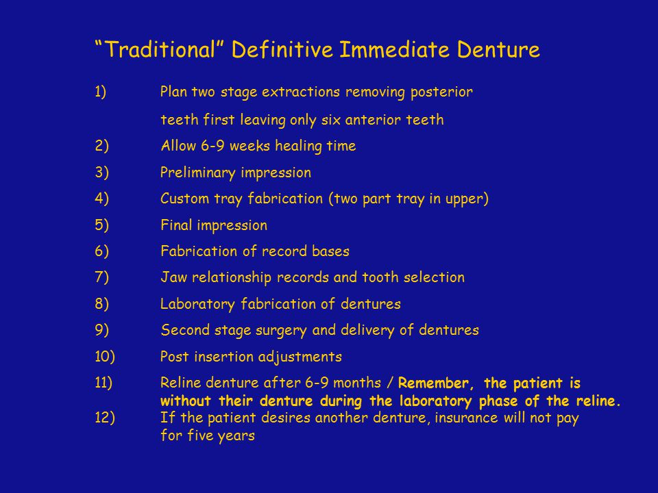 Traditional Definitive Immediate Denture