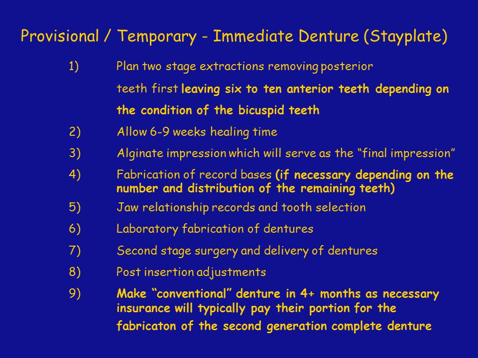 Provisional / Temporary - Immediate Denture (Stayplate)