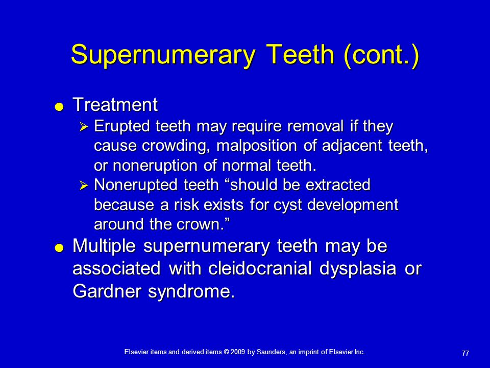 Supernumerary Teeth (cont.)