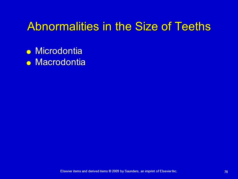 Abnormalities in the Size of Teeths