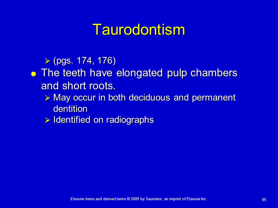Taurodontism The teeth have elongated pulp chambers and short roots.