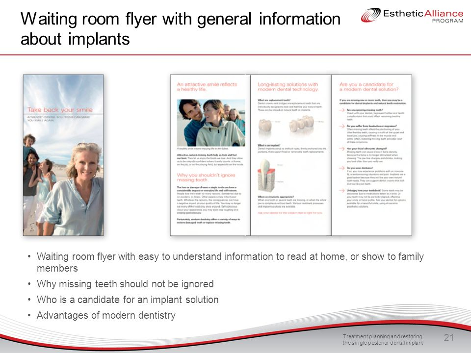 Waiting room flyer with general information about implants