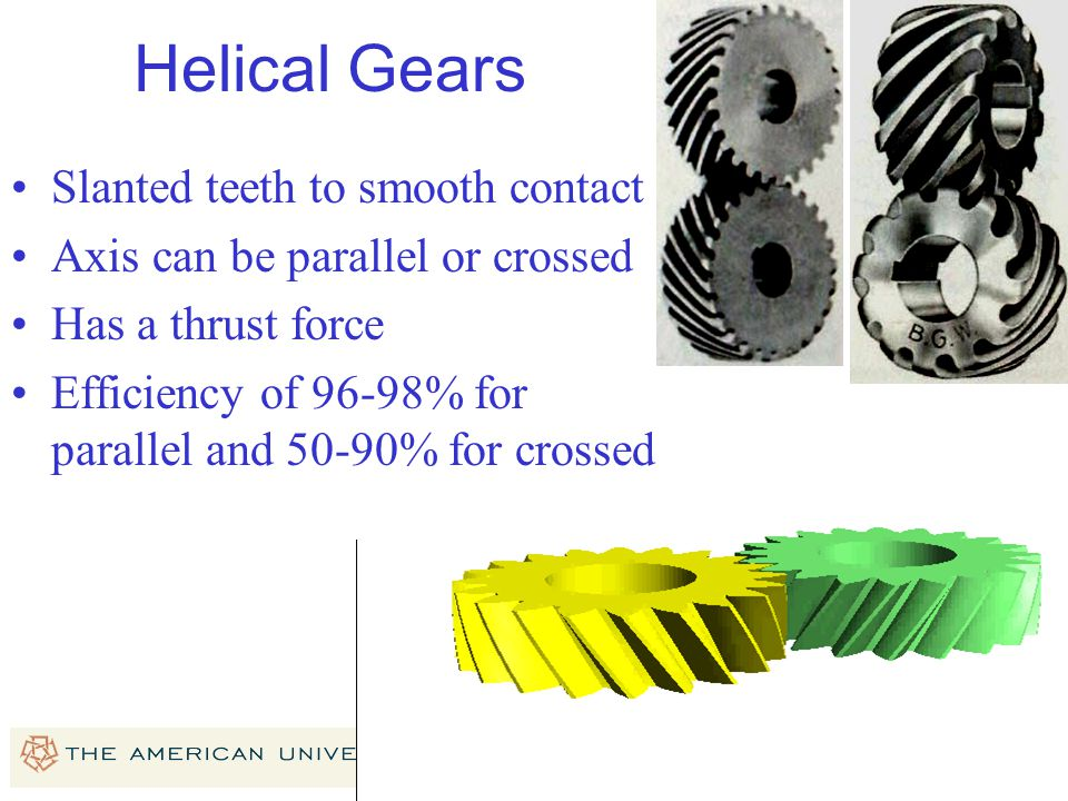 Helical Gears Slanted teeth to smooth contact