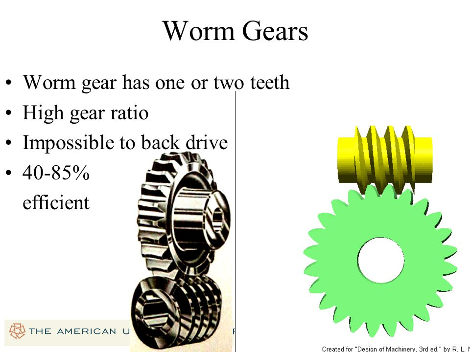 Worm Gears Worm gear has one or two teeth High gear ratio