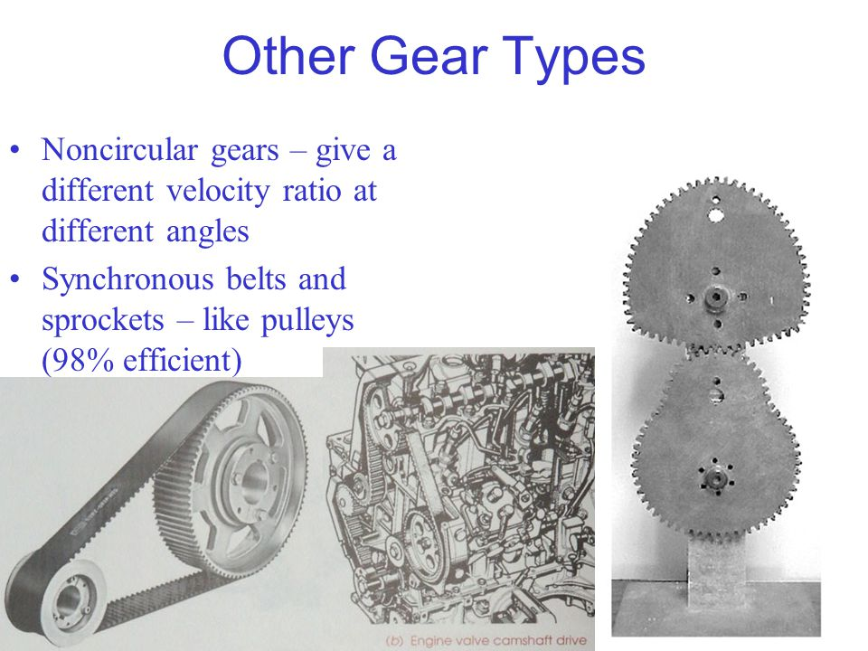 Other Gear Types Noncircular gears – give a different velocity ratio at different angles.