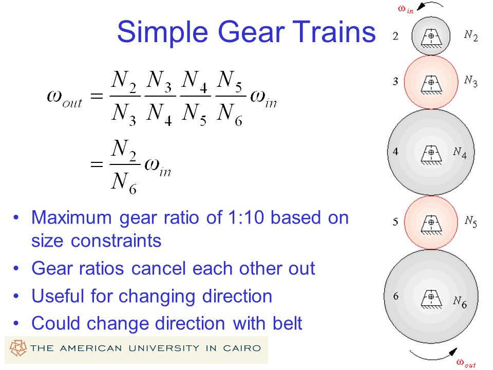 Simple Gear Trains Maximum gear ratio of 1:10 based on size constraints. Gear ratios cancel each other out.