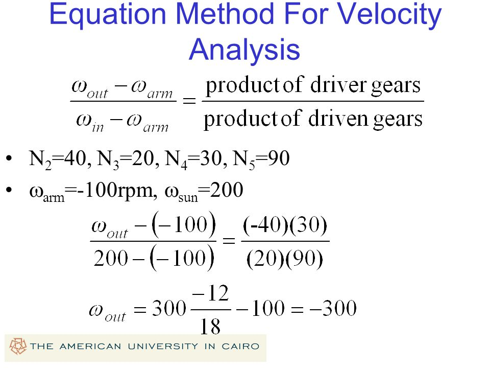 Equation Method For Velocity Analysis
