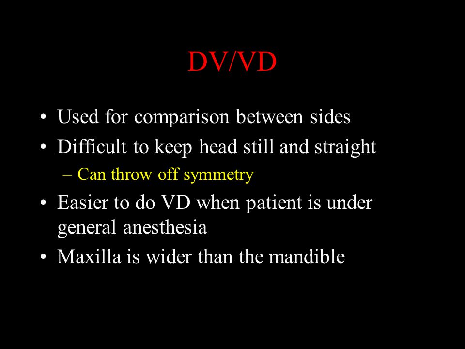 DV/VD Used for comparison between sides