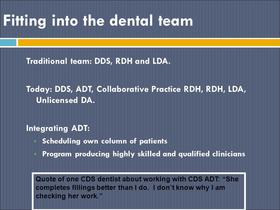 Fitting into the dental team