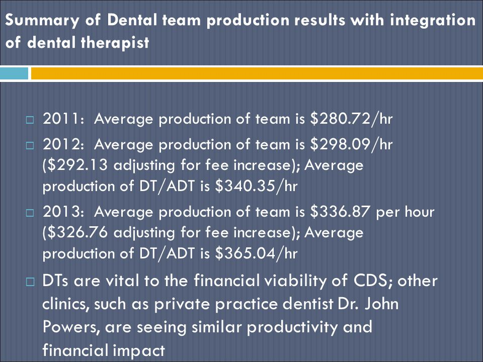 Summary of Dental team production results with integration of dental therapist