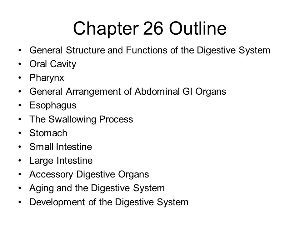 Chapter 26 Outline General Structure and Functions of the Digestive System. Oral Cavity. Pharynx.