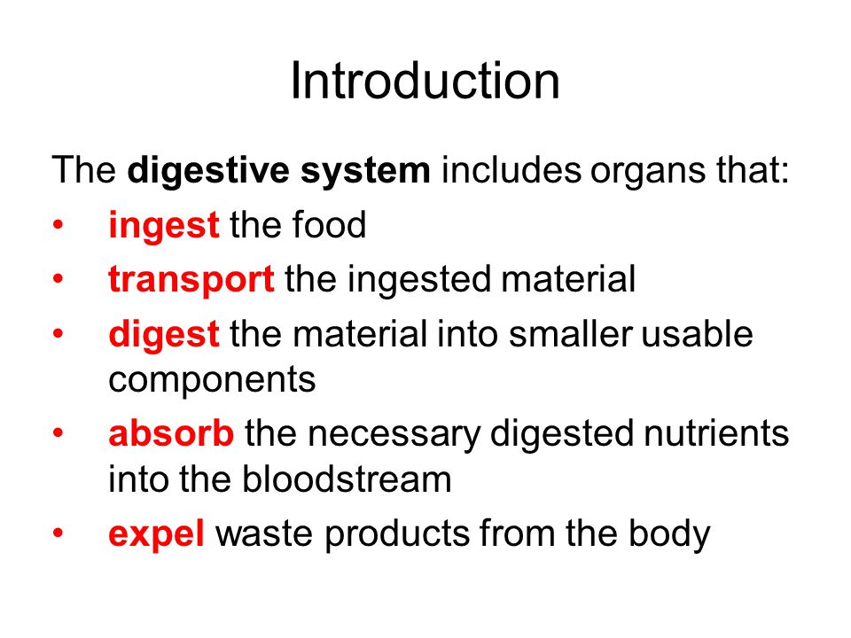 Introduction The digestive system includes organs that: