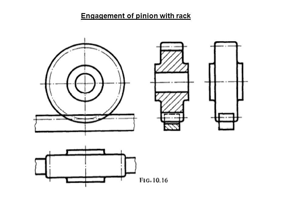 Engagement of pinion with rack