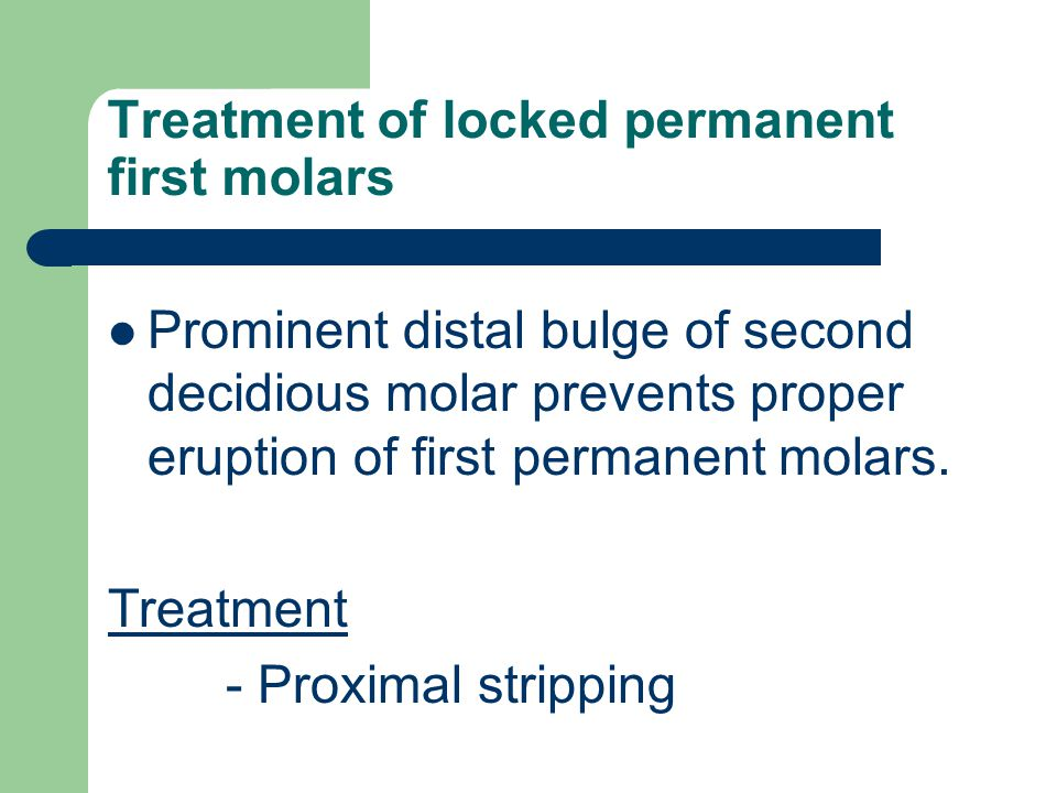 Treatment of locked permanent first molars