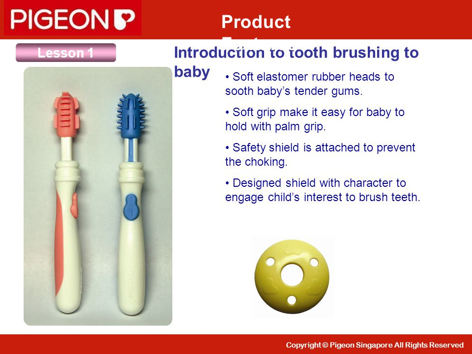 Product Features Introduction to tooth brushing to baby Lesson 1