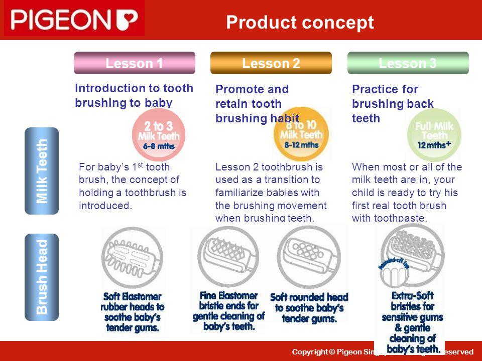 Product concept Lesson 1 Lesson 2 Lesson 3 Milk Teeth Brush Head