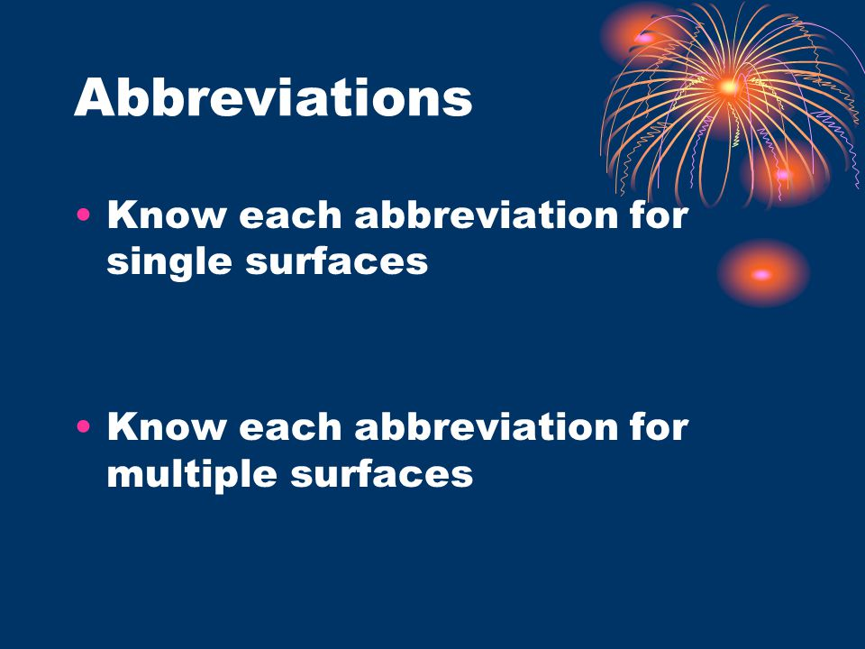 Abbreviations Know each abbreviation for single surfaces