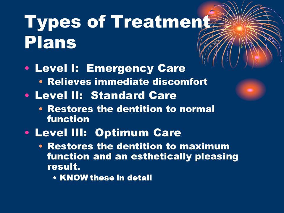 Types of Treatment Plans