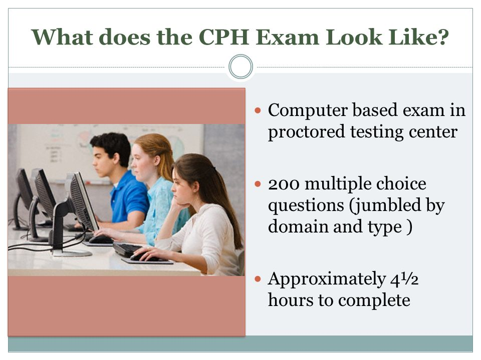 What does the CPH Exam Look Like