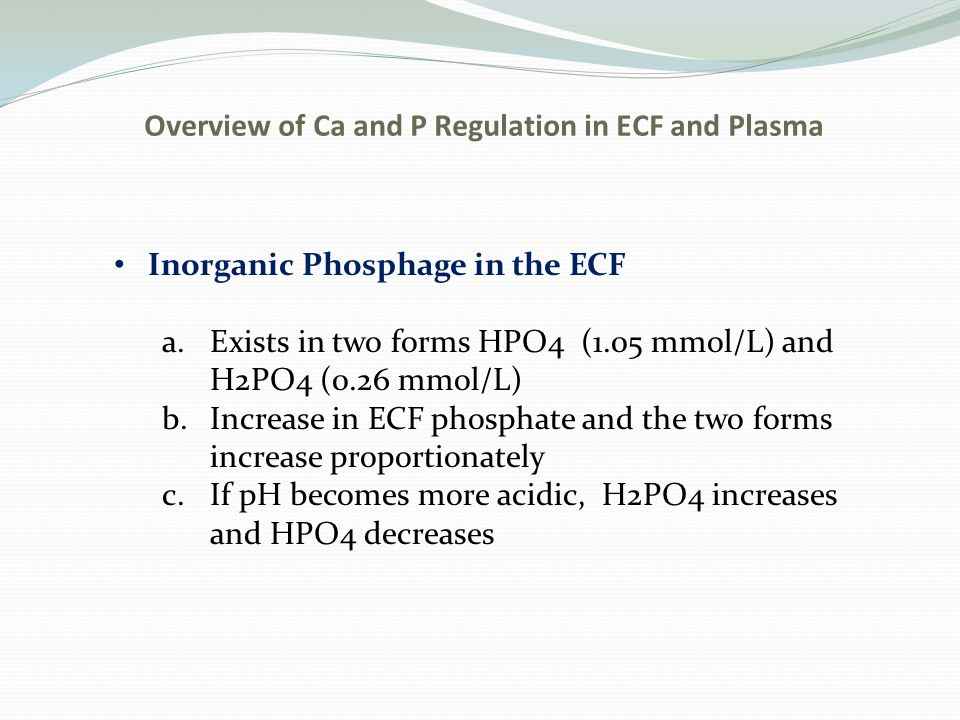 Overview of Ca and P Regulation in ECF and Plasma