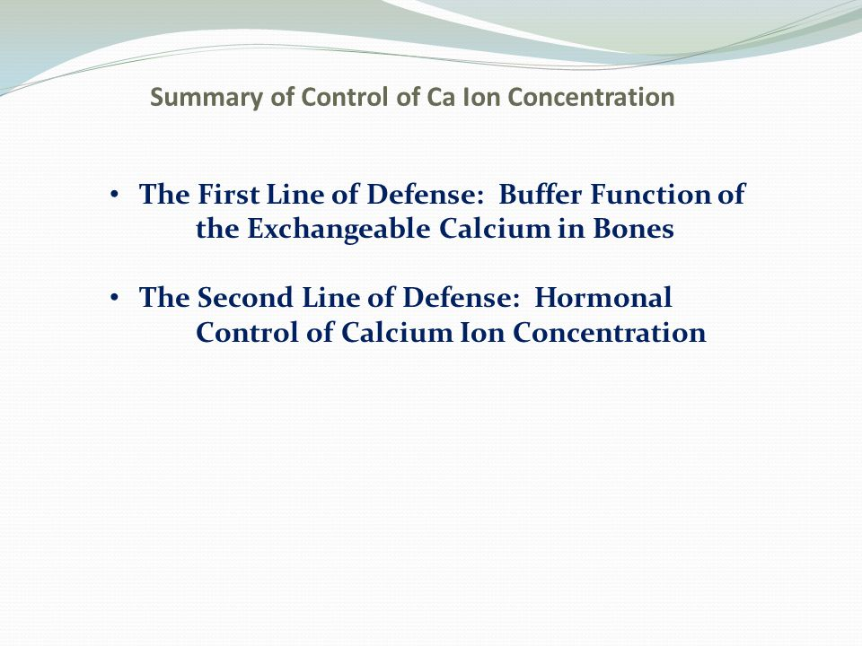 Summary of Control of Ca Ion Concentration