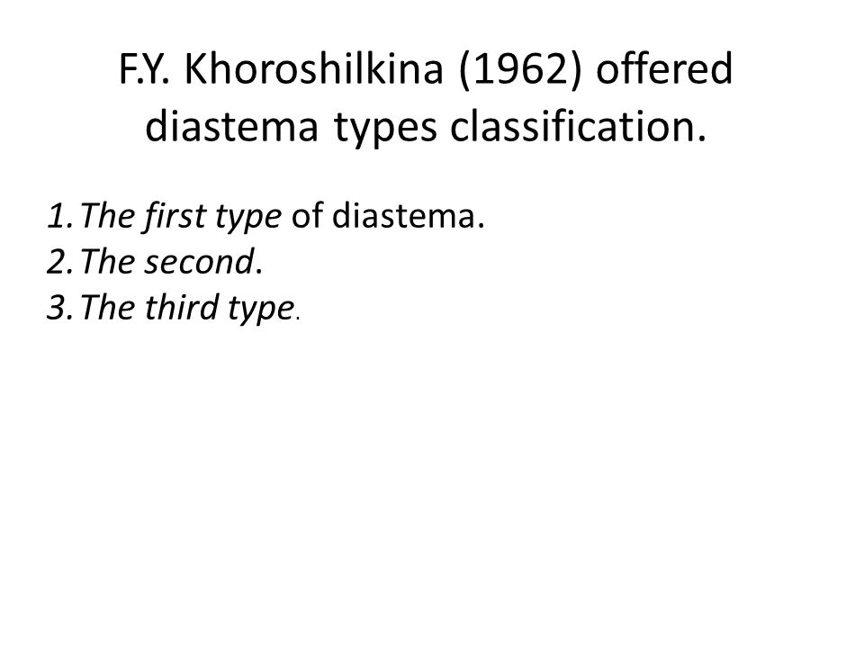 F.Y. Khoroshilkina (1962) offered diastema types classification.