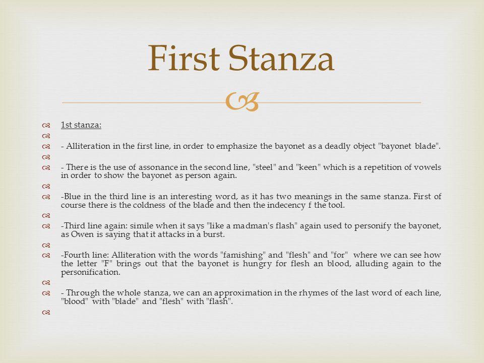 First Stanza 1st stanza: