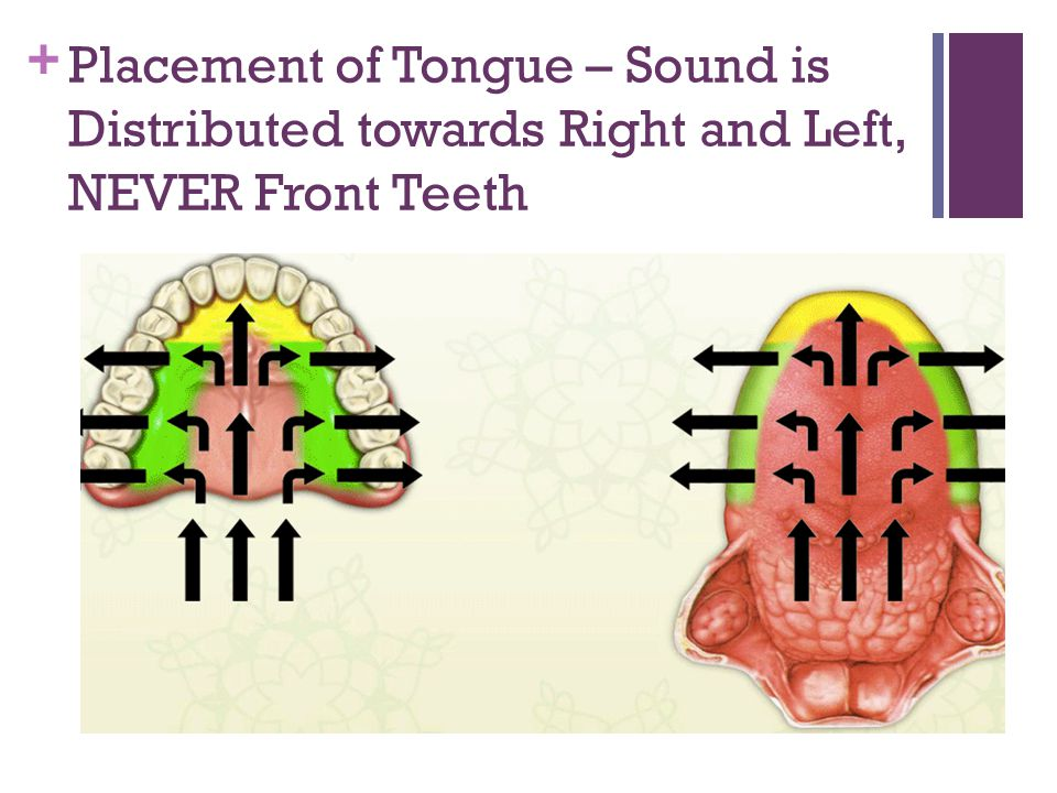 Placement of Tongue – Sound is Distributed towards Right and Left, NEVER Front Teeth
