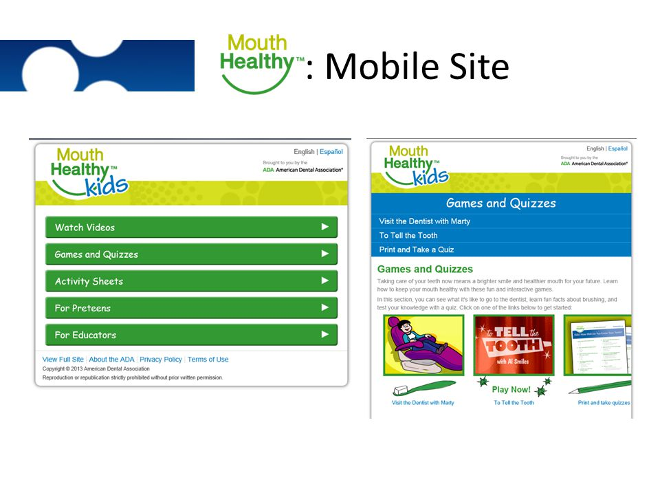 : Mobile Site Exact same content as full site, rearranged to be more handheld user-friendly.