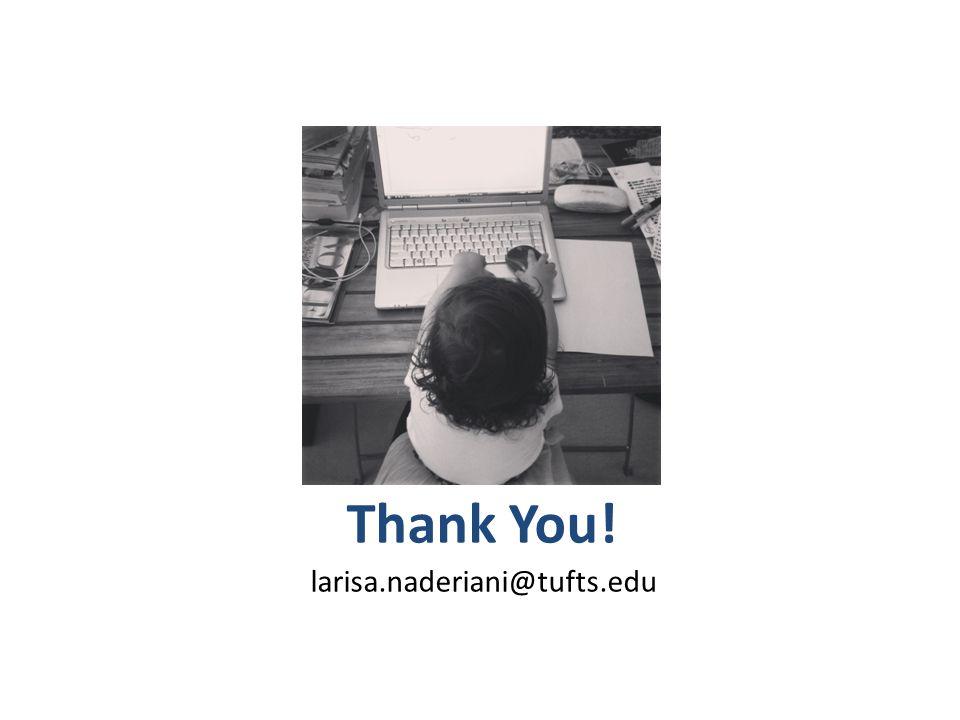 Thank You! larisa.naderiani@tufts.edu Photo credit: me!