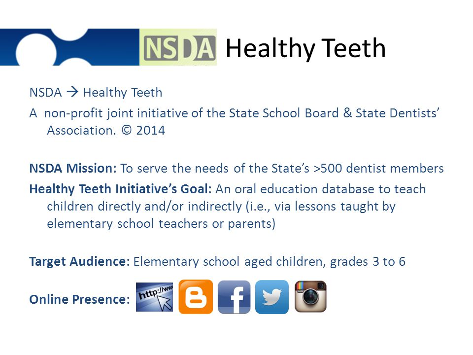 Healthy Teeth NSDA  Healthy Teeth