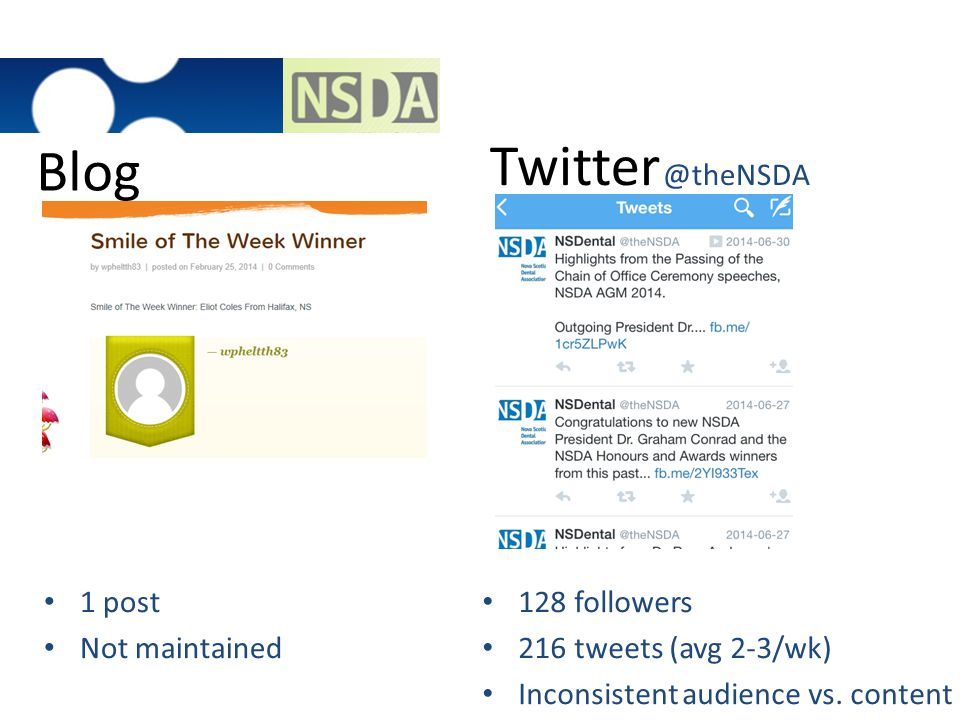Blog Twitter @theNSDA 1 post Not maintained 128 followers