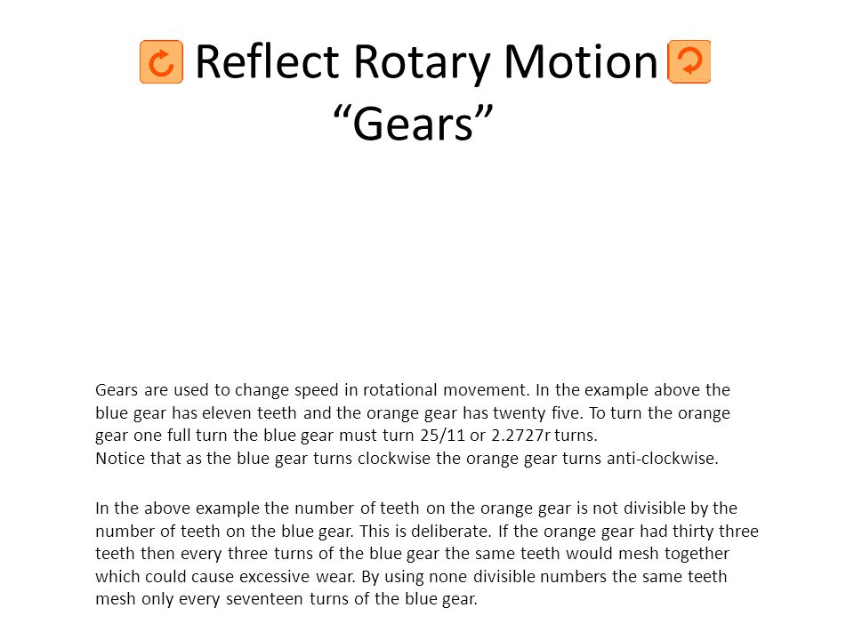 Reflect Rotary Motion Gears